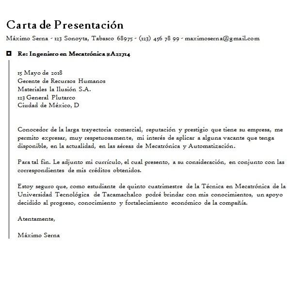 carta de solicitud de empleo y trabajo