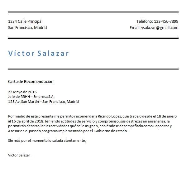 modelos y ejemplos de cartas de recomendaci u00f3n personal y