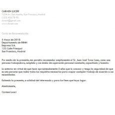 Plantilla de carta de recomendación para trabajo